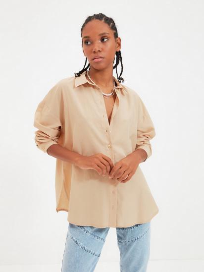 Сорочка з довгим рукавом Trendyol модель TWOAW22GO0147/Camel — фото - INTERTOP