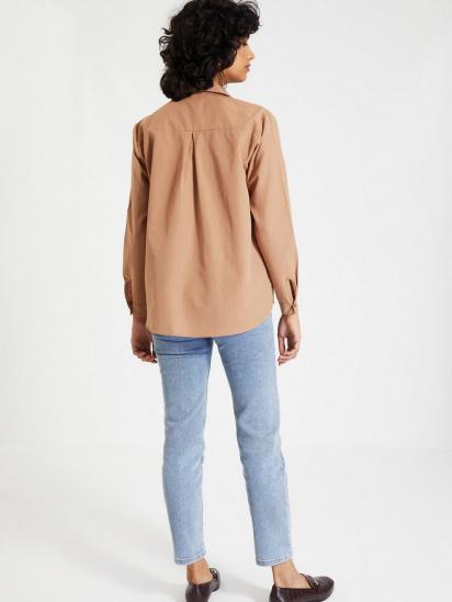 Сорочка з довгим рукавом Trendyol модель TWOAW22GO0160/Camel — фото 3 - INTERTOP