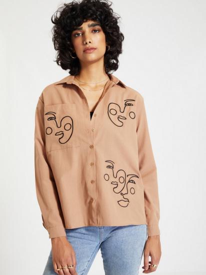 Сорочка з довгим рукавом Trendyol модель TWOAW22GO0160/Camel — фото 4 - INTERTOP