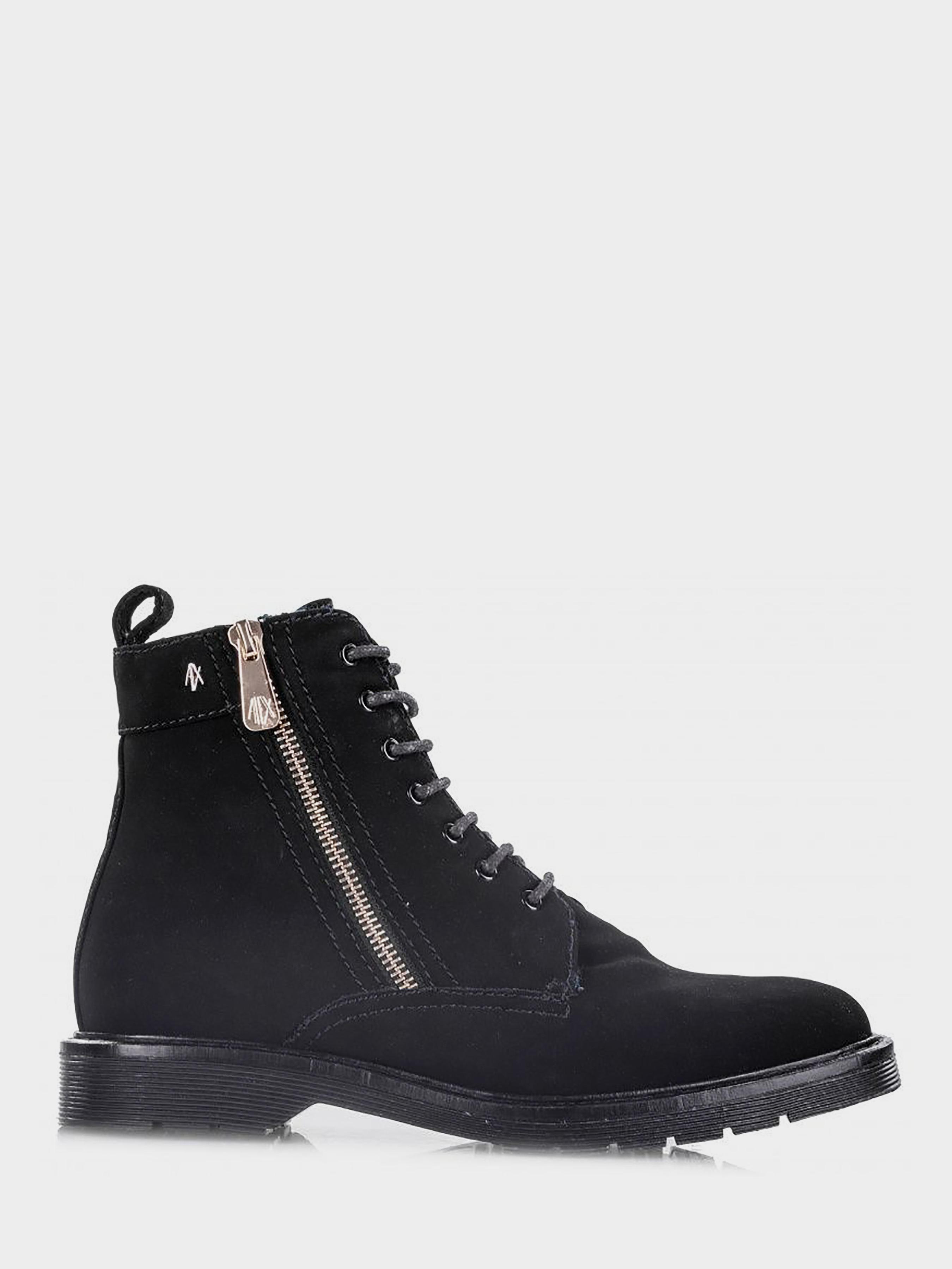 Купить Ботинки женские Armani Exchange LACE BOOT NUBUCK PU WD73, Черный