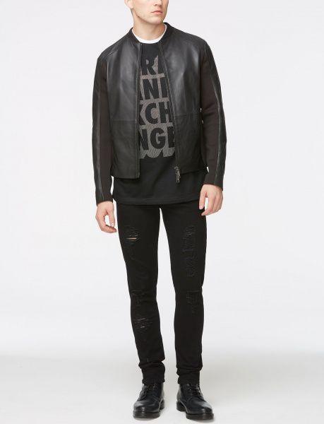 Куртка для мужчин Armani Exchange MAN LEATHER BLOUSON JACKET WH1003 размерная сетка одежды, 2017