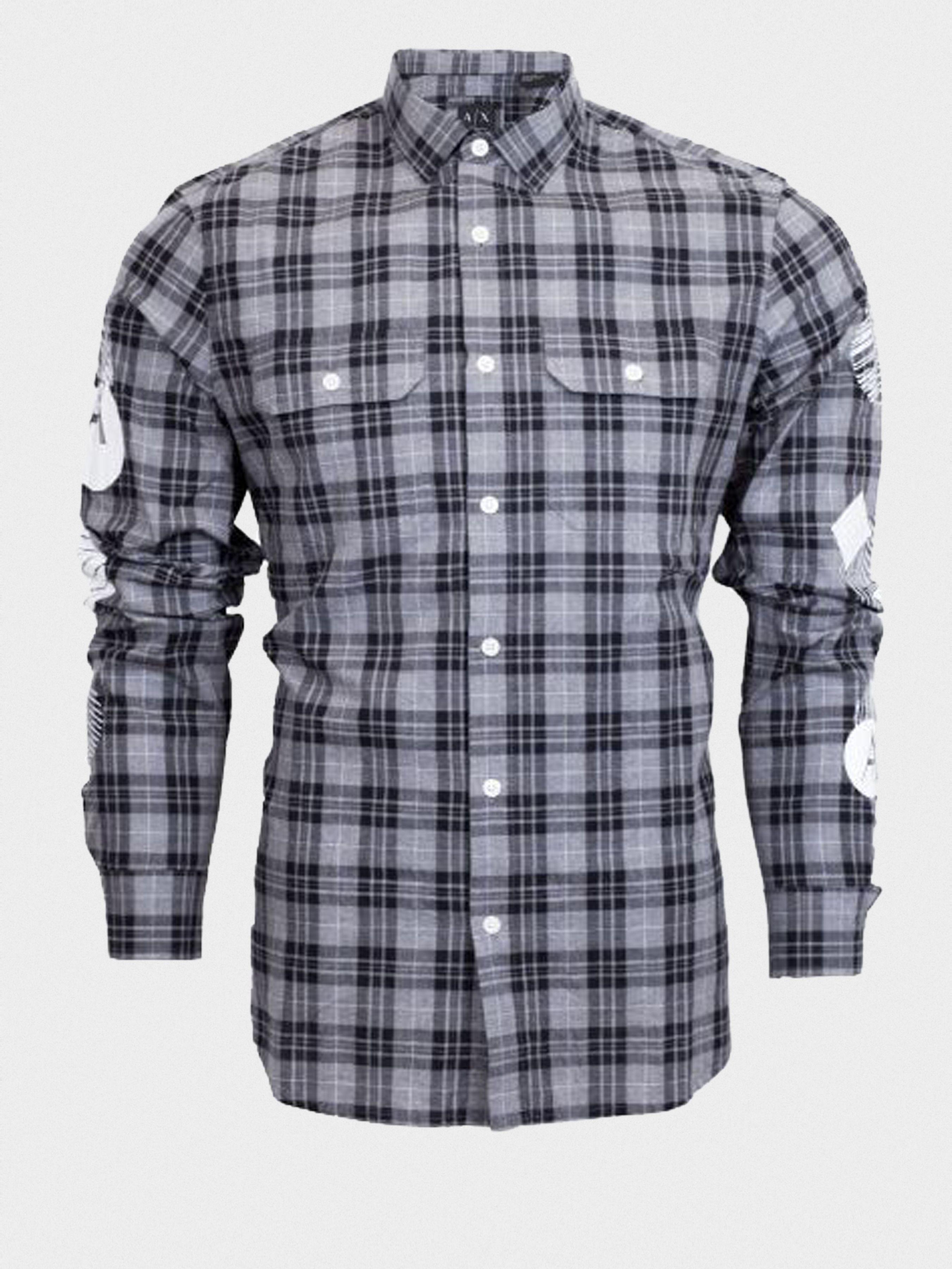 Рубашка с длинным рукавом мужские Armani Exchange WH42 цена одежды, 2017